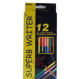 Карандаши цветные простые Marco двухсторонние олівці кольор рисования черчения двусторонні канцтовар