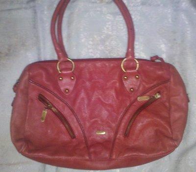 брендовая сумка натур кожа бордо красный