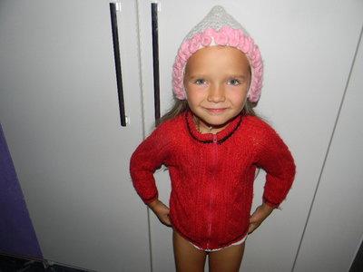 кофта тёплая вязаная на девочку 3-5 лет
