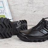 Ботинки кожаные Германия черные на шнуровке TM Jela