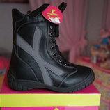 Ботинки для мальчика и девочки зимние, черные, новые р. 26,27,28,29,30,31