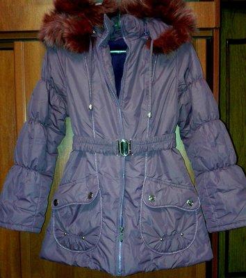 Теплая куртка с капюшоном и поясом