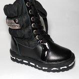 Сапоги зимние, сноубутсы, дутики,на овчине на девочку на змейке и шнурках, чёрные, В3317-0, Тм Lada